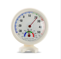 Wholesale wholesale plumbing tools - Round Shape Mini White Indoor Outdoor Analog Centigrade Thermometer Hygrometer Temperature Humidity Meter Measuring tools Fast shipping