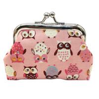 sevimli baykuş cüzdanları toptan satış-Sevimli Kız Çocuklar Sikke çanta Kawaii Baykuş baskı Küçük Değişim Cüzdan Çanta Kadın Anahtar Cüzdan Sikke Çanta Çocuk Kılıfı Hediye