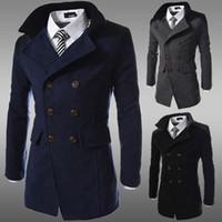 erkek kış uzun palto yün toptan satış-Moda kış uzun trençkot erkekler kruvaze yün karışımı erkekler için palto siyah artı boyutu M-3XL