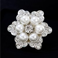Wholesale White Flower Pins Brooches - New Design Women Brooch Flower Shape Crystal White Pearl Brooches Lady's Evening Party Jewelry Silver Gold Plating 12PCS Free Shipping