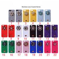 Wholesale Iphone Case Luxury Lace - Luxury brand Rainbow Lace Shiny Rhinestone Phone Case for iPhoneX 8 8plus hard back cover for iPhone 6 6S 7 7plus