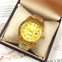 Wholesale golden watch price online - High Quality Women Watch Golden Color belt Lady watches Luxury Diamonds Men Quartz Top Brand price