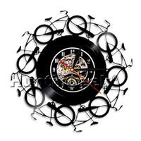 benzersiz bisikletler toptan satış-Saat değişikliği için diy hediye 2018 Bisikletler Duvar Saati Vintage Vinil Kayıt LP Herhangi Bir Durum Için Arkadaşlar Ve Aile Için Benzersiz Hediye