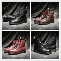 ботинки снега лодыжки оптовых-2018 высокое качество Великобритания классический 1460 открытый сапоги лодыжки зимние снегоступы черный коричневый Вино красное женщины мужская мода дизайнер обувь размер 35-44