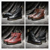 Wholesale mens low ankle shoes online - 2018 High Quality UK Classic Martens Boots Ankle Winter Snow Boots Black Brown Wine Red Women Mens Fashion Designer Shoes Size
