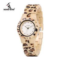 bambu leopardo venda por atacado-2018 BOBO PÁSSARO P26 Nova Marca Analog Leopard Relógios De Pulso De Madeira De Bambu Horological Mulheres Relógios para Senhoras Relógio
