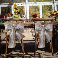 wedding lace chair covers оптовых-240 х 15 см кружева бантом мешковины стул пояса натуральный Гессенский джут белье деревенский стул крышка галстук бантом для свадьбы стул декор DIY ремесла