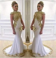 Wholesale charming girl picture - Gorgeous Gold High Neck Prom Dresses Mermaid Girls Sleeveless Charming Evening Dresses Luxurious Party Dresses With Sequins