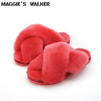 Wholesale Hair Sheep Leather - Maggie's Walker Women Sheep Fur Flat Slippers Women Winter Warm Slip-on Sheep Hair Indoor Shoes Size 35~40