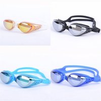 Wholesale Swims Coat - Waterproof Goggles Coating Silicone Antifogging Eyewear PC Lens Anti UV Silicone Mirror Band Adult Swimming Glasses Hot Sale 9 9yz Y