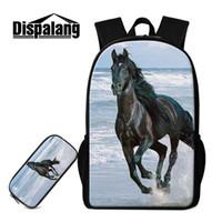 f7d3b645a620 2 шт/комплект большой рюкзак сумки для животных для средней школы дети мода  дети карандаш сумка лошадь шаблон рюкзак книга сумки мужские школьные