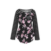 Wholesale maternity clothes for women online - Maternity Clothes Flower Tops Nursing Breastfeeding T Shirt For Pregnant Women Round Neck