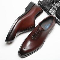 erkekler şarap kırmızı elbise ayakkabıları toptan satış-Siyah erkek elbise 2018 of yeni yüksek dereceli Avrupa versiyonu iş el yapımı Goodyear erkek ayakkabı şarap kırmızı ayakkabı