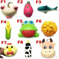 Wholesale Frog Soft Toy - Squishy Toy frog cake Animal chicken dolphin corn squishies Slow Rising 10cm 11cm 12cm 15cm Soft Squeeze Cute gift Stress children toys