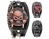 Wholesale motorcycle battery wholesale - wholesale men Copper Skull Leather Watch fashion mens punk military sports motorcycle eagle retro chain quartz 2018 watches