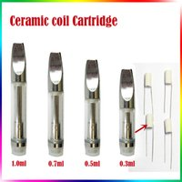 Wholesale Huge Tank - Ceramic Coil Glass Tank Cartridge CE3 Pyrex Glass Bud A3 Atomizer Huge Oil Vaporizer V2 Stainless Steel 510 Thread Wickless Coil Tank