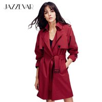 wide adjustable belt 2018 - Wholesale-JAZZEVAR 2017 Autumn New Fashion Women's Casual open stitch trench coat brief business Formal Outwear With Belt