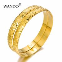 gold armbänder für bräute großhandel-WANDO 2 teile / los zu öffnende Dubai Gold Armreifen breite Frauen Gold Armbänder Afrikanischen Europäischen Äthiopien mädchen Schmuck braut geschenk wb85