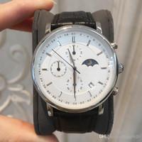 hombre reloj luna al por mayor-Calidad superior Todo el dial Trabajo Nueva moda Fecha del hombre Reloj de cuero genuino Diseño de lujo Reloj de pulsera de cuarzo Montre sun moon dial Relojes De