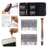 ingrosso set di kit di strumenti per computer-Kit di strumenti di riparazione, 25 in 1 set di cacciaviti con borsa in pelle, multifunzione per iPhone 8 iPad
