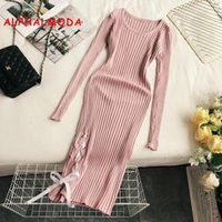 кружево вязальная лента оптовых-ALPHALMODA 2018 Retro Knitting Dress Ribbon Lacing Up Long Sleeve Sexy Rib Dress Autumn Women Solid Rib Bodycon Vestidos