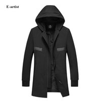 Wholesale Trench Coats Windbreakers - Wholesale- Men's Spring Autumn Long Hooded Zipper Trench Coats Outwear Overcoats Male Slim Fit Casual Jackets Windbreakers F40