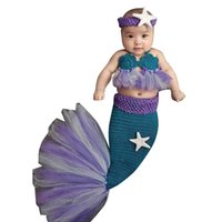 Wholesale handmade knitted clothing for sale - Newborn Baby Photo Props Handmade Wool Knitted Lovely Mermaid Costume Baby Headband Bra Tail Outfits Baby Photo Clothes