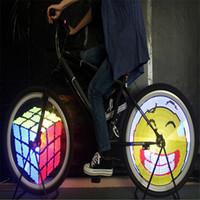telas led programáveis venda por atacado-DIY Bicicleta Luz 128 LED Programável Bicicleta Falou Roda LED Light Dupla Face Exibição de Tela Imagem para a Noite Ciclismo 2017
