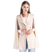 2fd42cd39 Women Elegant Apricot Cape Coat Woolen Zipper Jacket 2018 Winter Woolen  Zipper Casual Outerwear Womens Wool Coats Female Coat