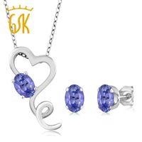 свадебные наборы из танзанита оптовых-GemStoneKing Solid 925 Sterling Silver Pendant Earrings Set 1.95Ct Oval Blue Natural Tanzanite Wedding Jewelry Sets for Brides