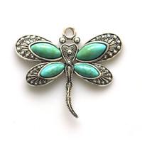 antike tiere großhandel-2 stücke Vintage Stein Anhänger Modeschmuck neue 2017 Libelle Tier Antike farbe Anhänger DIY Halskette Schmuck machen