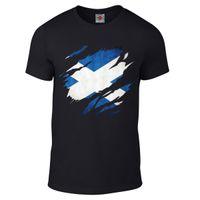 ingrosso bandiere scozia-T-shirt strappata della bandiera scozzese - Divertente t shirt country scozzese alla moda