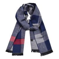 bufanda azul de invierno al por mayor-JeouLy Brand Men Scarfs 2018 Winter New Striped Vintage Houndstooth suave azul bufandas de cachemira hombre de alta calidad de negocios bufanda informal