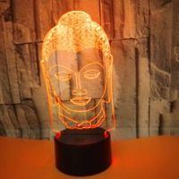 lâmpada de luz de buddha venda por atacado-Buddha 7 Cor Mudar Noite Lamp 3D Atmosfera bulbificação Luz 3D Visual ilusão Lâmpada LED para crianças brinquedo de aniversário giftsWholesale Dropshipping