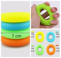 Wholesale Hand Powered - 7cm Diameter Strength Hand Grip Ring Muscle Power Training Rubber Ring Exerciser Gym Expander Gripper Finger Ring DDA186