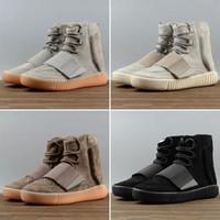 светящиеся баскетбольные ботинки оптовых-Мода HOT 750 Светло-серый Gum Glow In The Dark Kanye West Shoes Баскетбольные кроссовки 750 Мужские спортивные повседневные кроссовки