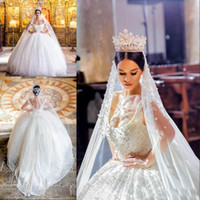 Ball Gowns for sale - 2018 Vintage Scoop Neckline Bridal Gowns Beaded Lace Tiered Ruffle Wedding Dresses Back Zipper With Bow Sweep Train Custom Made Wedding Gown