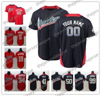 Wholesale base number - 2018 All-Star Custom Any Name Any Number Navy Blue Red Stitched #5 Freddie Freeman 22 Clayton Kershaw Cool Base Baseball Jerseys