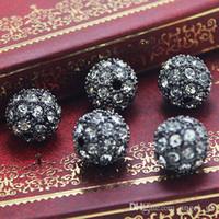 ingrosso perline di shamballa nere-Black Metal Gun Colore Pavimenta Crystal Clear Disco Ball Allentato Strass Spacer Bracciali Shamballa Bead Monili Che Bordano Forniture D670