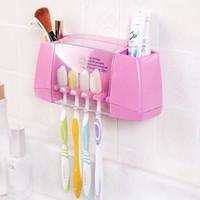 cepillo de dientes de marca al por mayor-Ganchos de Succión Multifuncionales de PVC Sostenedor de Cepillo de Dientes Marca Titular de cepillo de Dientes Caja de Almacenamiento Accesorios de Baño