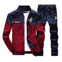 новые бренды спортивной одежды оптовых- New Men Sets Fashion Autumn Spring Sporting Suit Sweatshirt +Sweatpants 2 Pieces Mens Clothing Slim Male Tracksuit