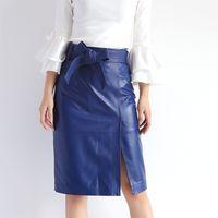 Wholesale Genuine Leather Skirts - JAS7342 2017 Autumn OL Elegant Bow Genuine Leather Skirt Woman 65 cm Knee Long Black Blue Jupe Split Faldas Mujer Large Size