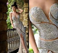Wholesale Sheer Rhinestone Dresses - Custom made Beaded Evening Dresses Luxury Jewellery Rhinestones Sheer Jewel Corset Mermaid Floor Length Red Carpet Celebrity Dresses