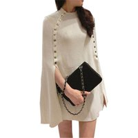 зимние свитера для свитера для женщин оптовых-2018 New Fashion Winter Autumn Poncho Sweater Women Double Breasted  Knitted Sweaters and Pullovers Pull Femme Jumper
