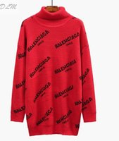 casaco vermelho moda venda por atacado-Free Shipping2018 Novas mulheres da moda Camisola Pullover Manga Comprida Tripulação carta Carta Vermelho / Preto Casaco Camisola das Mulheres Casuais