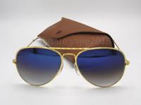 Wholesale Rectangle Driving Lights - Excellent Quality Man Woman Gradient Metal Sunglasses Eyewear Designer Sun Glasses Gold frame light blue lens 58mm Glass Lenses Brown box