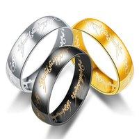 schwarze stahlmagie großhandel-6mm breiter Ring King Magic Letter Der Herr von One Ring Schwarz Silber Gold Edelstahl Ring für Männer, Frauen