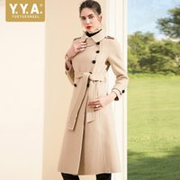 ingrosso high collar wool belt-Capispalla stile europeo Slim Fit Belt Moda femminile Doppio petto bavero collo donna lana cappotti Cappotti di marca di alta qualità