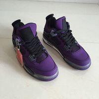 new concept 9055c bd475 2018 Travis x 4 Houston Purple Männer Basketball-Schuhe 4s Rouge-Noir  Cactus Jack Männer Markendesigner Turnschuhe mit Box
