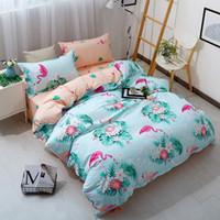 ingrosso biancheria da letto per ragazze-# Set copripiumino rosa blu fenicottero rosa Set biancheria da letto stampata con uccellini per uccelli Set completo copriletto copripiumino per letto queen